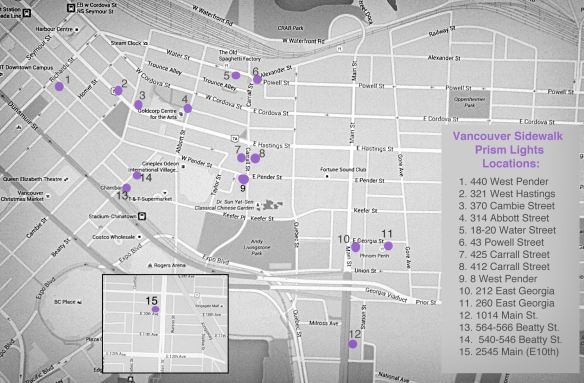Map of sidewalk prism lights locations. (click on image to view)