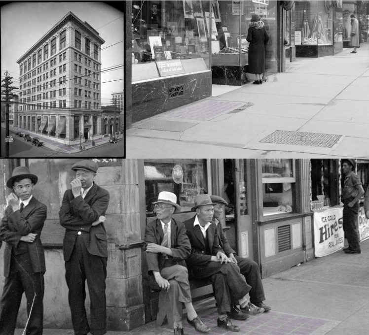 Sidewalk prisms and areaways were more common in Vancouver's past than they are today. Photos (clockwise): 402 West Pender St., 1918, VPL - 20484; 610 Granville St., 1936 (detail) COV Archives - CVA 99-4856; 8 West Pender St. COV Archives - Bu N158.2
