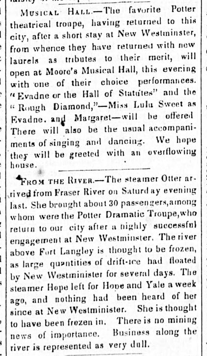 Daily Colonist January 15, 1861. Lulu Sweet arrives back in Victoria aboard the Otter.